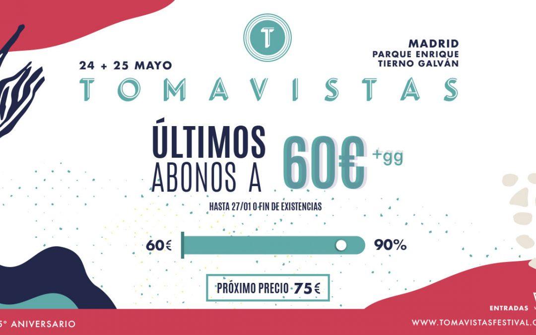Últimos abonos para Tomavistas 2019 a 60€.