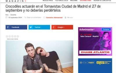 Crocodiles actuarán en Tomavistas Ciudad de Madrid el 27 de septiembre y no deberías perdértelos vía @DodMagazine
